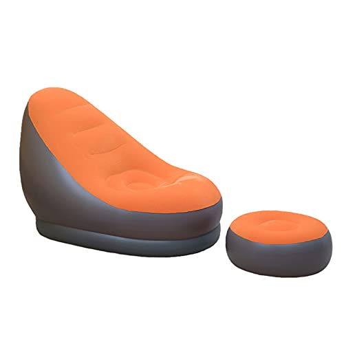 GDZHL Puf Inflable para Sofá con Reposapiés, Puf Reclinable para Jugador, Sofá Plegable ai Aire Libre Sofá Flocado Lazy Sofa (Naranja)