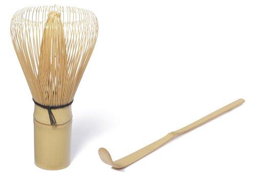 Quertee® - Lla frusta per matcha Chasen PIÙ il cucchiaio di bambù per matcha Chashaku