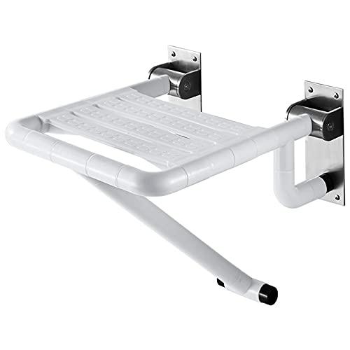 LY1 Wegklappbarer Duschhocker, Duschklappsitz Mit HöHenverstellbaren StüTzfüßEn,Wandmontage, Badestuhl Duschhocker Klappbarer Duschsitz (Bis 250 Kg Tragkraft),Weiß