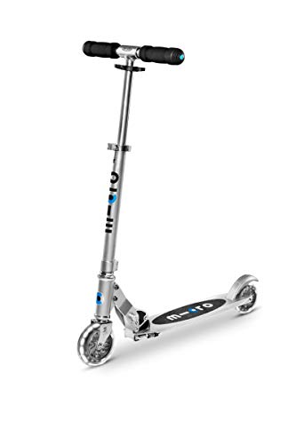 Micro Kickboard- Sprite LED - 2 Wheeled Kick Scooter Ages 8+, fold-to-Carry, Lightweight, Portable Scooter with Motion-Activated Light-up Wheels (Silver)