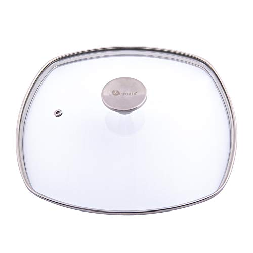 Victoria Glass Lid for 10 Inch Cast Iron Square Grill Pan, Skillet Lid with Stainless Steel Air Flow Knob.