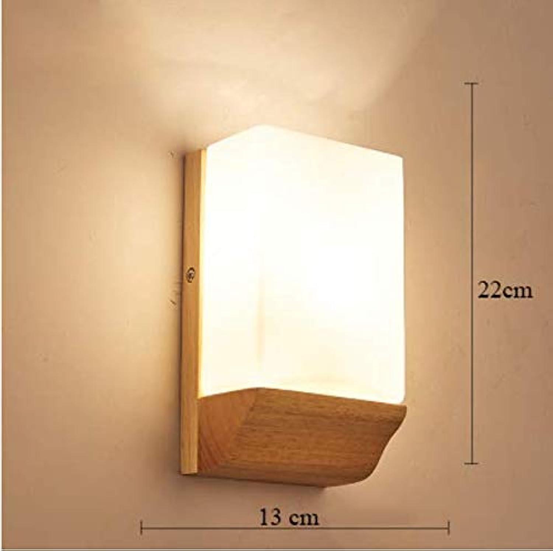 LED einfache massivholz nachtwandlampe europische eiche wandleuchte schlafzimmer wohnzimmer flur lampe treppenbeleuchtung