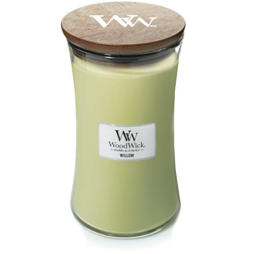 Woodwick Large Hourglass Scented Candle | Willow | with Crackling Wick | Burn Time: Up to 130 Hours, Willow