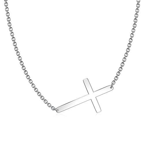 925 Sterling Silver Sideways Cross Necklace 18' + 2'