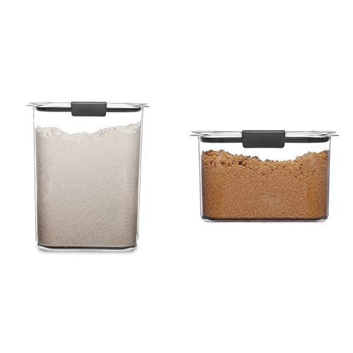 Rubbermaid Brilliance Pantry 16 and 78 Cup Baking Storage Container Bundle Clear 4-Piece Set 2 Bases with Lids