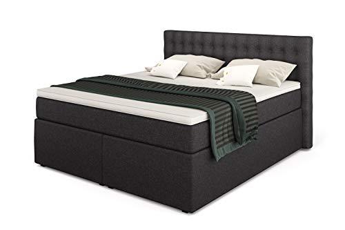 Betten Jumbo King Boxspringbett 160x200 cm mit 7-Zonen TFK Härtegrad H3 und 10 cm V2-Topper | Farbe Anthrazit | div. Größen verfügbar