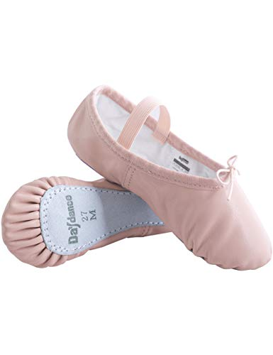Daydance Pink Ballet Shoes for Girls Leather Dance Slippers Full Sole