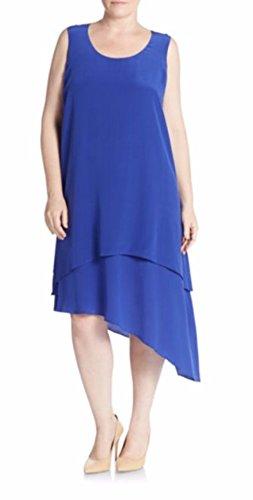 Eileen Fisher Women's Silk Asymmetrical Layered Dress Plus Blue Size 3X