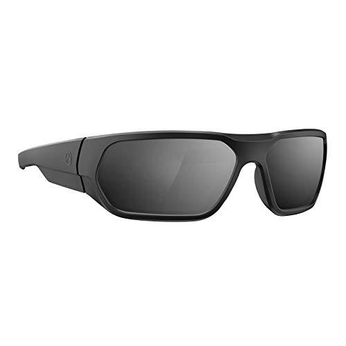 Magpul Radius Sunglasses Tactical Ballistic Military Eyewear Shooting Glasses for Men, Black Frame, Gray Lens with Silver Mirror (Polarized)