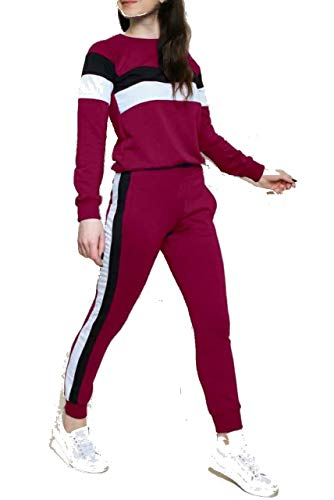 Better Buying Maroon Striped Black White Side Full Sleeve Top & Pant Leggings Tracksuit Set for Womens (30, Maroon)
