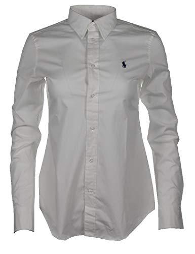 Ralph Lauren - Blusa de corte ajustado para mujer, color rosa, azul marino, blanco, azul a rayas Blanco XS