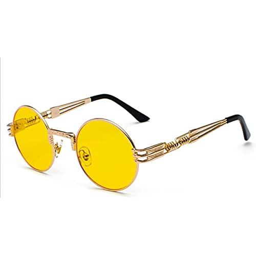 Tanxianlu Peekaboo Vintage Retro gótico Steampunk Espejo Gafas de Sol Dorado y Negro Gafas de Sol Vintage círculo Redondo Hombres UV Gafas De Sol,2
