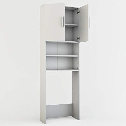 Vicco Waschmaschinenschrank 190 x 64 cm - Badregal Hochschrank  Waschmaschine Bad Schrank Badezimmerschrank Überbau (Weiss)