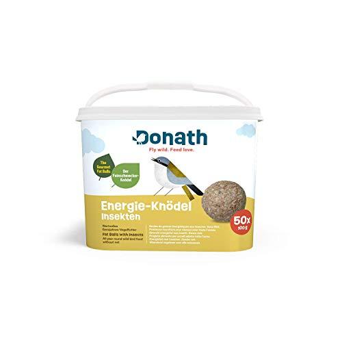Donath Energie-Knödel Insekten ohne Netz - 50 Meisenknödel ohne Netz im Vorteilseimer (50 x 100g) - wertvolles Ganzjahres Wildvogelfutter - aus unserer Manufaktur in Süddeutschland