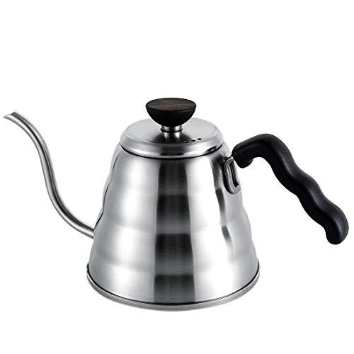 SOGOOD koffiepot zwanenhals waterkoker rubberen greep roestvrij staal theepot koffiezetapparaat inductiefornuis elektrische ovens koffie thee dranken goed cadeau voor keuken kantoor 1,0 l / 35 oz