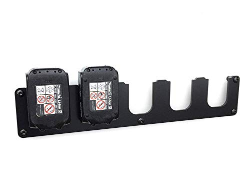 Premium Akku Wandhalterung 5-Fach, für Makita 14,4V & 18V Akkus - Extra starke Profi Ausführung aus 5mm massivem Stahl. Langlebig durch Plastpulverbeschichtung. + Befestigungsmaterial + Abstandshalter