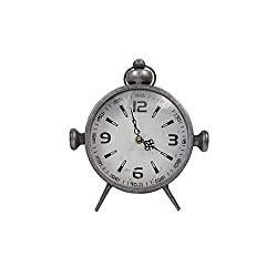 Designstyles Metal Vintage Desk Clock – Classic Analog Shelf Clock for Office, Bedroom, Living Room – Decorative Table Top Design - Battery Operated