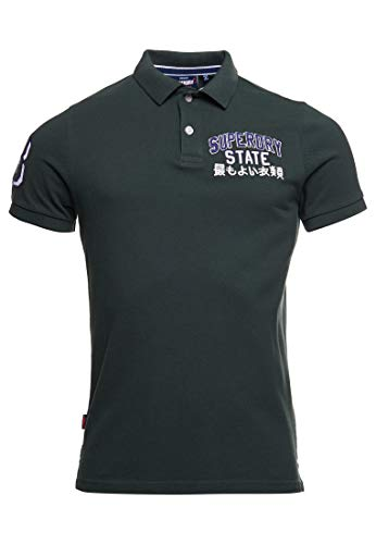 Superdry Mens M1110008A Polo Shirt, Dark Forest, L