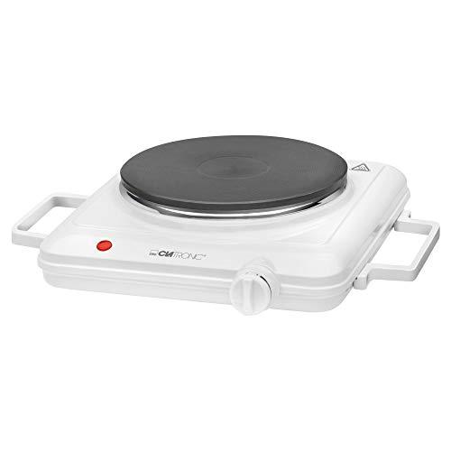 Clatronic Einzelkochplatte EKP 3582, 1 Kochplatte, stufenlos regelbares Thermostat, hohe Standfestigkeit, weiß