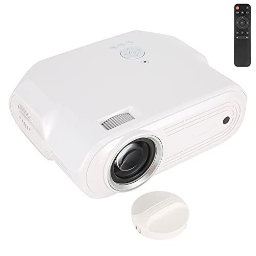 Goshyda Proyector de Video portátil, proyector de películas Pearl White1080P Home Projector 6000 LED Proyector de caudal con refrigeración Potente, para Oficina en casa()