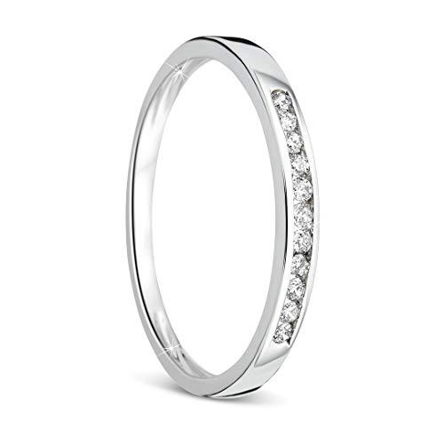 Orovi anillo de mujer compromiso/aniversario 0.10 Quilates diamantes en oro blanco 9 kilates ley 375