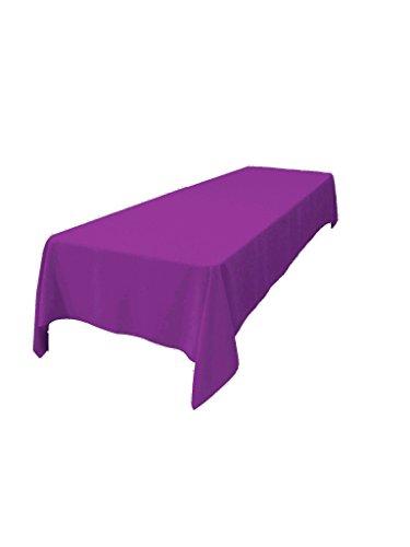 "LA Linen Polyester Poplin Rectangular Tablecloth 60 by 144"" , Magenta"