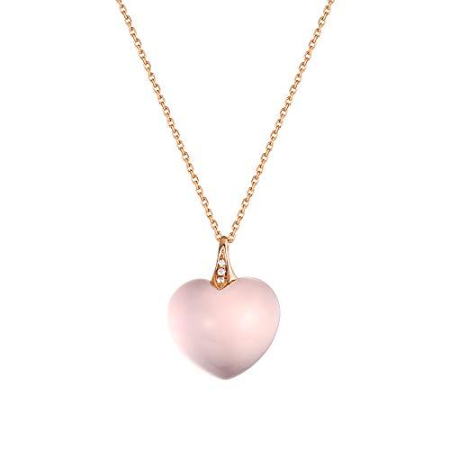 Carleen 14K Solid Rose Gold Rose Quartz with Diamond/Tourmaline Gemstone Delicate Love Heart/Cushion Cut Pendant Necklace For Women Girls, 16