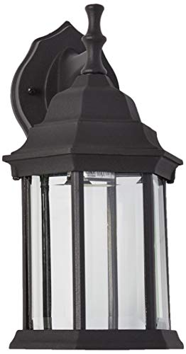 Westinghouse Lighting 6783100 One-Light, Textured Black Finish on Cast Aluminum with Clear Beveled Glass Panels Exterior Wall Lantern Cast Aluminum Outdoor Lighting
