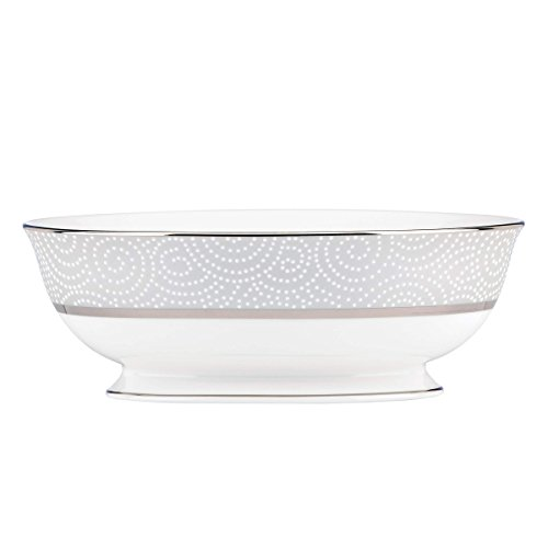 Lenox 845290 Pearl Beads Open Vegetable Bowl, 2.2 LB, Taupe/Grey