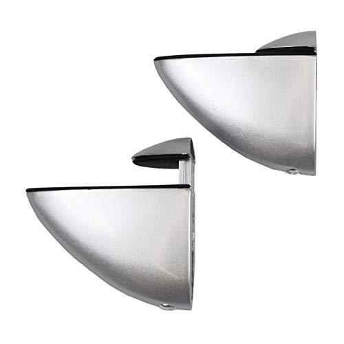Par de soportes para estantes para madera y cristal, acabado en aluminio, para grosores de hasta 30 mm