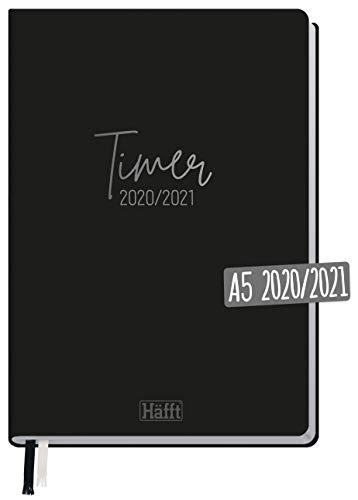 Häfft-Timer 2020/2021 A5 [Just Black] Hardcover Schüler-Kalender, Schüler-Planer, Schulplaner, Semesterplaner für Oberstufe, Ausbildung oder Studium | nachhaltig & klimaneutral