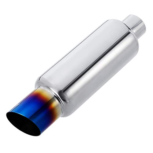Upower 2 inch Inlet Muffler w/Blue Burnt Exhaust Tip 2' to 3' Exhaust Muffler Resonator Tailpipe Tips 14.8' Length Universal For Car Truck