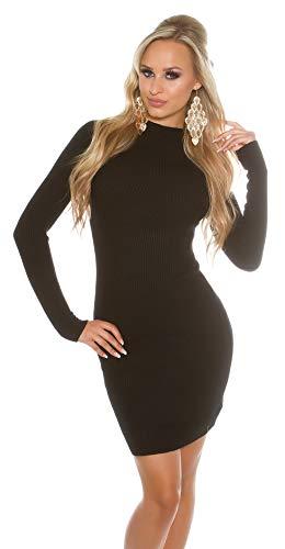 Koucla Damen Strickkleid Feinstrick RIPP Kleid Minikleid Stehkragen | Long Pullover Pullikleid gerippt | schwarz 32 34 36
