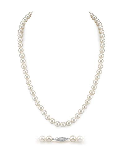 THE PEARL SOURCE 6.5-7mm AAA Quality Round White Freshwater Cultured Pearl Necklace for Women in 16' Choker Length