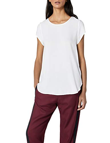 VERO MODA Damen Boca SS TOP T-Shirt, Weiß (Snow White), 36 (S)
