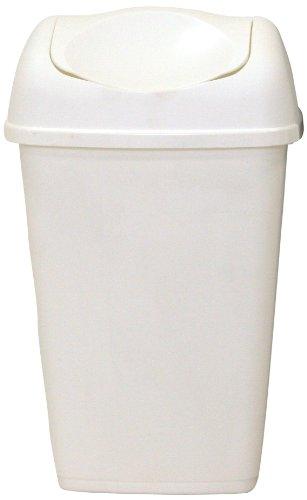 axentia Schwingdeckeleimer ca. 9 l, Abfalleimer aus weißem Kunststoff, geruchsaufhaltender Mülleimer mit Schwingdeckel