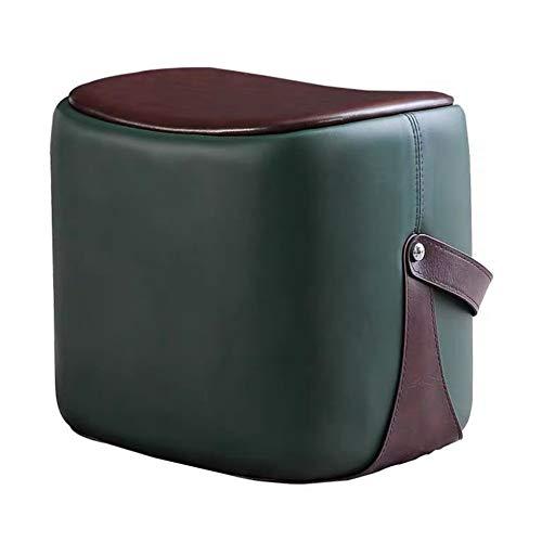 Lwieui Taburete Otomano Software de Cuero Dresser for el Dormitorio, Sala de Estar Silla Retro reemplace el Asiento otomana Escabel, 45X33X40cm (Color : Verde, Size : 45X33X40cm)