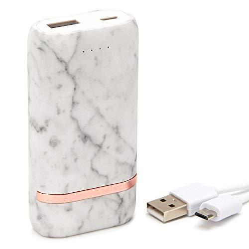 RICHMOND & FINCH Banco de Potencia Compactos, Cargador de teléfono portátil con batería Externa de Alta Capacidad de 5200 mAh, Compatible con iOS y Android, mármol Blanco