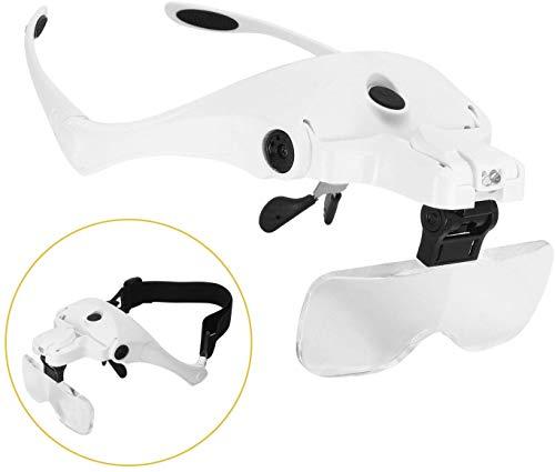 Dandelion めがね ルーペ 虫眼鏡 ヘッドルーペ ヘッドマウント 拡大メガネ LED照明付き USB充電式 LEDメガネ 拡大鏡メガネ フレーム ゴムバンド両用 5レンズ交換調節 1.0倍 1.5倍 2.0倍 2.5倍 3.5倍