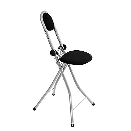 BigDean Bügelstuhl Stehhilfe rückenschonend - Multisitz 7-Fach höhenverstellbar 55-72 cm - TÜV Bügelstehhilfe klappbar - Stehstuhl Bügelhilfe Bügelhocker