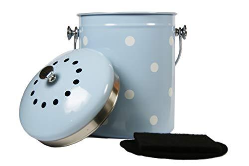 Mount Delectable Komposteimer für den Innen- und Außenbereich, für die Küche mit Deckel, Komposteimer blau, Edelstahl, 5 Liter Behälter, Gerüche versiegelt mit Kohlefiltern