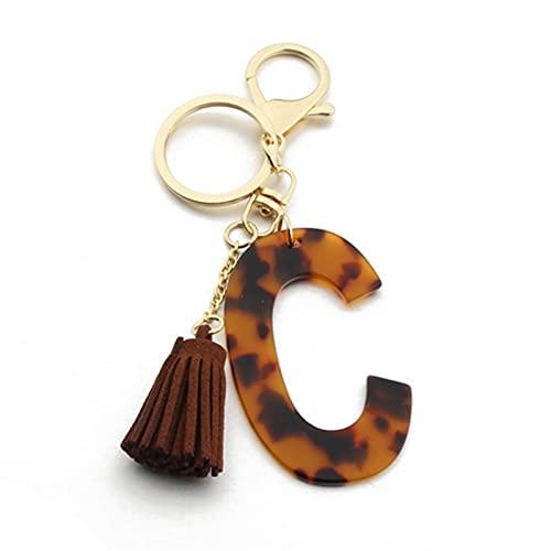 woyada Llavero con letra de leopardo y accesorios para mujeres y niñas, con inicial de oro, para llaves de coche y bolsa, regalo