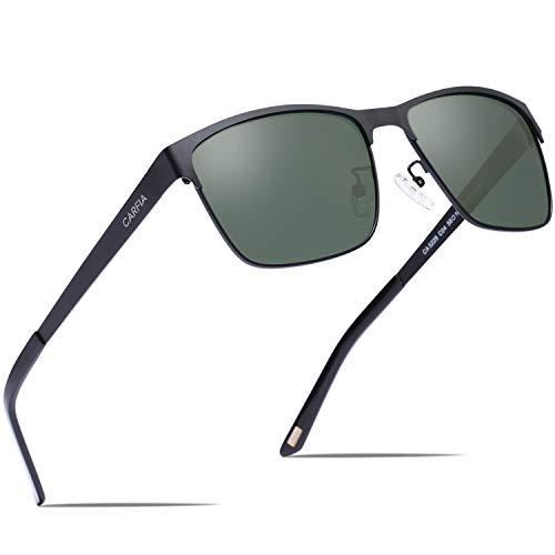 Carfia Polarisierte Herren Sonnenbrille Metallrahmen UV 400 Fahrerbrille Sportbrille Kategorie 3