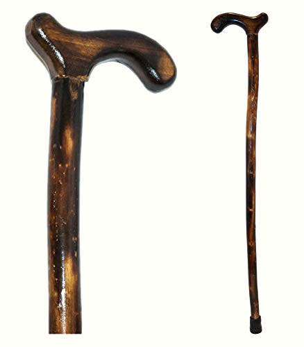RMS Wood Cane - 36 Inches Natural Wood Walking Stick - Handcrafted Wooden Offset Cane for Men or Women (Smooth Derby Handle)