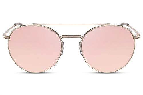 Cheapass Gafas de Sol Redondas Doradas Metálicas Puente Doble con Cristales Rosas Espejados Protección UV400 Mujer