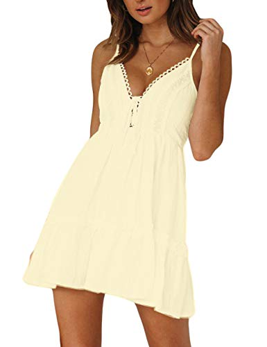 FUZEELY Women's Sexy Ruffles V-Neck Spaghetti Strap Lace Front Tie Cross Sleeveless Elastic Waist Mini Summer Dress Light Yellow