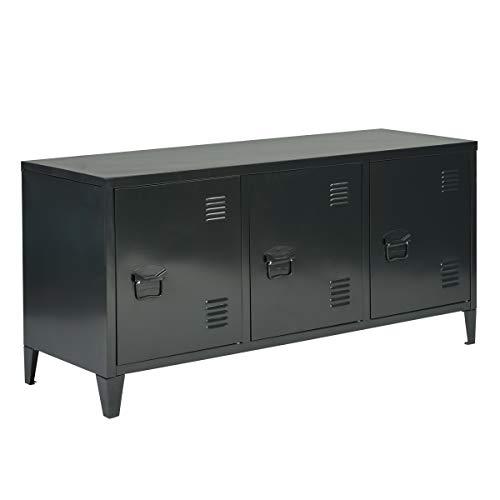 TV Schrank Sideboard Wohnzimmerschränke Küchenschrank mit Ablagen und Tür Industrie-Design Schwarz, Matapouri Black Lt