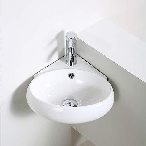 Buy Cheap QI&YI Bathroom Vanity Ceramic Vessel Sink Wall Mount Small Half Bathroom Corner Basin Fauc...