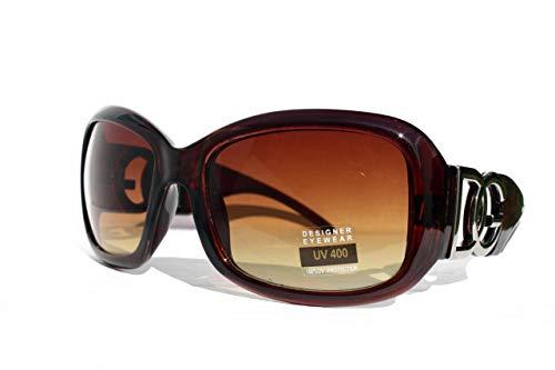 DG Eyewear Women's Designer Sunglasses - Full UV400 Protection - Women Fashion Brown Oversized Sunglasses - Model : DG Vienna With FREE Pouch