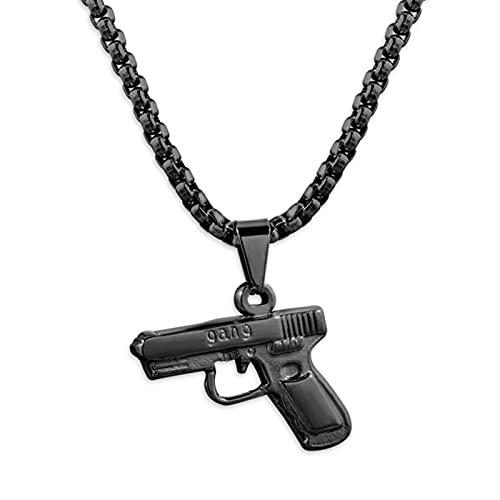 ADON 1 pieza de acero inoxidable pistola colgante hip hop cadena larga punk collares para mujeres hombres joyería pareja